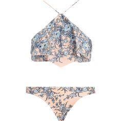 Zimmermann Porcelain Waterfall Bikini ($245) ❤ liked on Polyvore featuring swimwear, bikinis, swimsuits, bathing suits, swim, strappy bathing suit, floral swimsuit, swim bathing suits, swimsuits two piece and strappy bikini