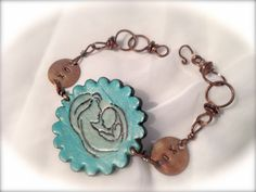 Mommy and Baby Bracelet. Burnished leather and painted turquoise. Handmade copper links and custom XO Love You Copper Stamps.