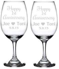 2 Etched Glass Wedding ANNIVERSARY WINE GLASSES 5th 10th