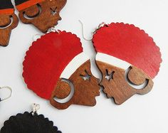 Afro Hair Earrings Wood Jewelry African by TheBlackerTheBerry