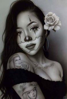 Im like a sad klown. Chicano Tattoos Sleeve, Body Art Tattoos, Tattoo Gesicht, Los Muertos Tattoo, Chicano Drawings, Cholo Art, Clown Tattoo, Lowrider Art, Meaningful Tattoos For Women