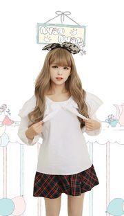 Ruffled white short sleeve blouse