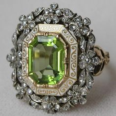 ** Antique Gold Victorian Rose Cut Diamond and Peridot Cocktail Ring