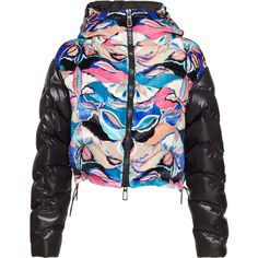 Printed Down Jacket   Moda Operandi ❤ liked on Polyvore featuring outerwear, jackets, down jacket, down filled jacket, hooded down jacket and hooded jacket