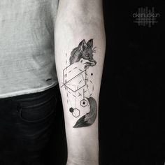 Geometric Fox Tattoo by Okan Uckun