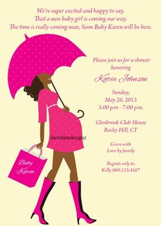 Personalized African lady baby bump invite with hot pink dress UPRINT | ShorelineDesignz - Digital Art  on ArtFire