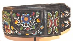 A beaded on leather belt from Poland 1940's