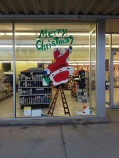 Office Christmas Decorations, Christmas Window Display, Christmas Store, Christmas Scenes, Christmas Colors, Christmas Art, Christmas Window Paint, Christmas Windows, Santa Paintings