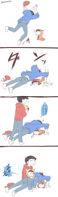 Karamatsu & Osomatsu + baby Choromatsu and Baby Karamatsu(?)