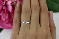 1/2 carat 14k White Gold Ring 6 Prong Solitaire by TigerGemstones