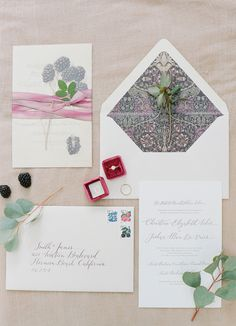 Blackberry wedding paper suite: http://www.stylemepretty.com/2017/03/17/berry-palette-san-ysidro-ranch-wedding/ Photography: Joel Serrato - http://joelserrato.com/