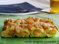 CANNELLONI DI PESCE CON SALMONE E GAMBERETTI: un'idea golosa per un'occasione speciale. Dal blog Cucina Spagnola A Casa Mia.