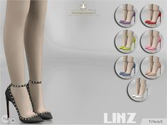 High heeled stiletto shoes with spike details. Come in 8 colours (suede texture). Found in TSR Category 'Sims 4 Shoes Female'