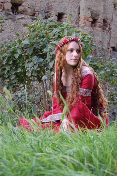 Red Dress by ~DanielleFiore Model, forest maiden, fantasy, medieval