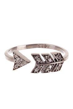 Sterling Silver Diamond Arrow Ring