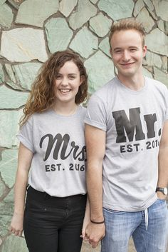 Custom made Mrs. & Mr. shirts. Great wedding gift idea or for engagement photos!