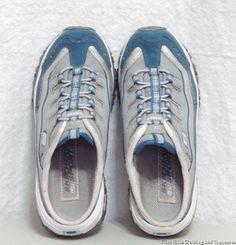 5ed3531fa30 Womens Skechers Sport Blue Gray Leather Slip On Mule Tennis Shoes Size 6.5