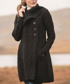 West End Knitwear Black Cable-Knit Triple-Button Merino Wool Cardigan - Women | Best Price and Reviews | Zulily Soft Layers, Wool Cardigan, Cardigans For Women, Cable Knit, Amazing Women, Merino Wool, Knitwear, Cashmere, Luxury