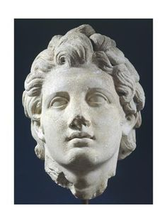 Giclee Print: Head of Alexander, Roman Copy in Marble from Original of Hellenistic Period : Sculpture Head, Roman Sculpture, Lion Sculpture, Hellenistic Art, Hellenistic Period, Ancient Art, Ancient Rome, Ancient Greek, Ancient History