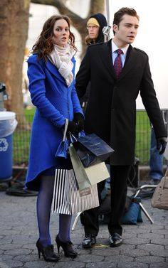 Who made Leighton Meester's blue purse and blue jacket while filming Gossip Girl?