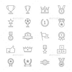 Award and Trophy Icons Line Set Of Vector Illustration — Vector EPS #respect #trophy • Available here → https://graphicriver.net/item/award-and-trophy-icons-line-set-of-vector-illustration/17309622?ref=pxcr