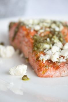 salmon with pesto and feta. I baked this like the Pioneer Woman suggests and then put the feta and pesto on.  It was sooo good.