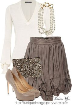taupe skirt cream sweater clutch brown skirt high heels
