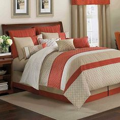 Brighten up your bed with the beautiful Royal Heritage Home Pelham Comforter Set. Adorned with allover diamond embroidery on top of white, taupe and orange piecing, the warm bedding brings an eye-catching interplay of color and texture to any bedroom. Coral Bedroom, Bedding Master Bedroom, Bedroom Colors, Bedroom Sets, Bedroom Decor, Coral Bedding, Orange Bedding, Queen Comforter Sets, Bedding Sets