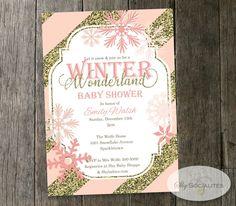 Baby Shower Invitation Winter Wonderland Theme Digital file