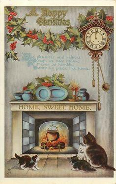 vintage Christmas cat family by fireplace, clock Cat Christmas Cards, Old Fashioned Christmas, Christmas Scenes, Christmas Past, Christmas Greetings, Christmas Postcards, Vintage Christmas Images, Victorian Christmas, Retro Christmas