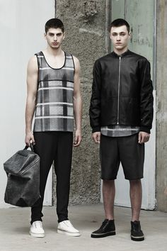 Gunny + Galloon for Alexander Wang, Menswear Spring 2014 Screen Printed perforated leather.