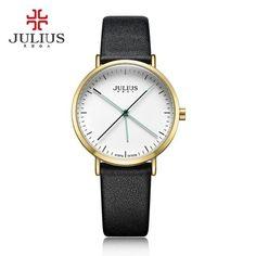 JULUIS Fashion Women's Personality Round Watch Dial Wrist Watch Popular Luxury Needle Leather Strap Quartz Watches