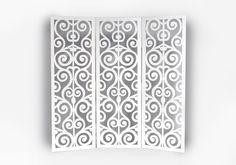 Деревянная ширма с вензелями №1 имеет три подвижные створки на шарнирах. Высота ширмы 1м 70 см, ширина 1м 80 см. Сделана из МДФ толщиной 6 мм. Окрашена водоэмульсионной краской белого цвета. Ширма разграничит пространство в любом помещении. Станет частью декора спальни или гостиной. Так же может использоваться во время свадебных церемоний, как декоративный элемент для оформления задника за молодоженами или для оформления фото зоны.