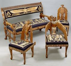 includes four matching pieces. Sofa has over 1000 pieces of inlaid in elephant ivory, ebony and other exotic hardwoods on African mahogany base wood. Outstanding carving of ancient Egyptian motifs und Egyptian Furniture, Egyptian Home Decor, Egyptian Art, Antique Furniture, Egyptian Things, Egyptian Crafts, Egyptian Beauty, Ancient Art, Ancient Egypt