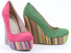 Amazon.com: Faux Suede Round Toe Striped Platform Wedge Heels: Shoes