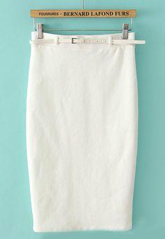 White Belt Bodycon Skirt US$21.97