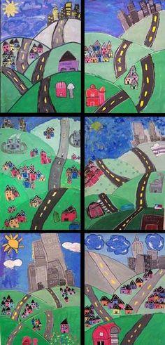 Layered Landscape Paintings 3rd grade - Hockney
