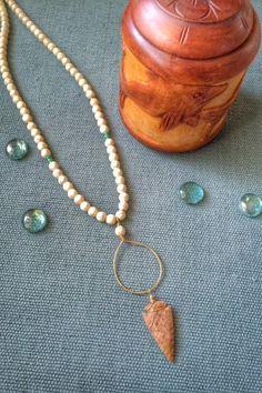 Ivory Magnesite with Jasper Arrowhead Necklace