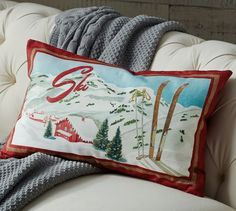 Ski Scene Pillow Cover | Pottery Barn