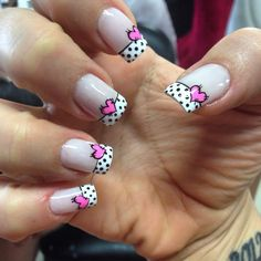 Dotted French tips mani with hearts Girls Nail Designs, Dot Nail Designs, Simple Nail Art Designs, Fancy Nails, Love Nails, Pretty Nails, New Nail Art Design, Valentine Nail Art, Girls Nails