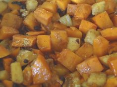 I found this great recipe on the package of my fresh cut butternut squash.  It looked yummy so I had to try it.  The flavor of the roasted squash and apples with the crunch of the pecans is fantastic.  This is a great way to get your family members to eat their veges.  Enjoy.