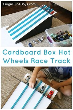 How to Make a Cardboard Box Race Track for Hot Wheels Cars - Frugal Fun For Boys and Girls, Convert a cardboard box (we used a Costco diaper box) into simple race lanes for Hot Wheels cars! This simple race track releases four cars at one ti. Cardboard Box Crafts, Cardboard Toys, Cardboard Playhouse, Cardboard Box Ideas For Kids, Cardboard Furniture, Cardboard Race Track, Shoebox Crafts, Playhouse Furniture, Cardboard Castle