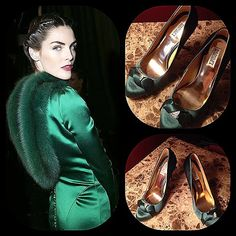 Emerald satin crystal heels Stunning designer Badgley Mischka satin emerald green formal heels with crystal ornament for that over-the-top evening out.  Gold interior. Size 10M New and never worn. Badgley Mischka Shoes Heels