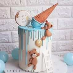 Teddy bears and melted ice cream baby shower or baby birthday cake. Boys First Birthday Cake, Baby Birthday Cakes, Cupcake Birthday Cake, Baby Boy Cakes, Cupcake Cakes, Teddy Bear Birthday Cake, Baking Cupcakes, Cake Baking, Mohana Cake