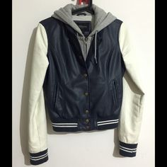 Obey Varsity Lover Faux Leather Jacket Navy Blue Faux Leather Jacket is in excellent condition; gently worn a few times. Willing to create new listing for discounted shipping! Obey Jackets & Coats