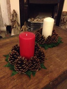 Rustic Christmas Pine Cone Candle Holder