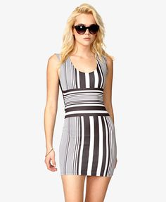 "Striped Bodycon Dress - Forever 21  Scuba knit. Round neckline. Sleeveless. Knit. Lightweight. 31"" approx length from high point shoulder to hem, 28"" chest, 24"" waist (small).  NOTE: back is black with peek-a-boo slit at base of spine."