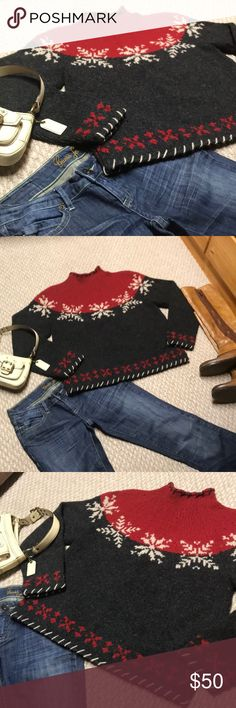 NWOT Woolrich ski chalet sweater Gorgeous!!! Heavy, warm, thick and new woolrich sweater. Charcoal grey with red and cream accents. From the snowflakes to the decorative stitching along the edges this sweater screams hot Cocoa and a log cabin with a burning fire as snowflakes fall outside. This sweater is a wonderful gift idea, though the tags have been removed. Very very warm!! Highest quality! Thick without being too bulky! Would look amazing with jeans, leggings.. hiking boots, knee high…