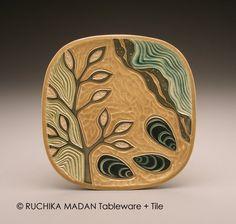 Seaweed and Mussels 2- medium square plate- Ruchika Madan