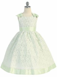 Mint Lace with Cute Bows Flower Girl Dress